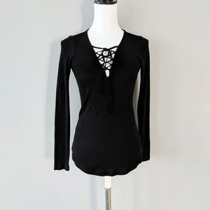 Splendid Black Lace Up Long Sleeve Top Stretch